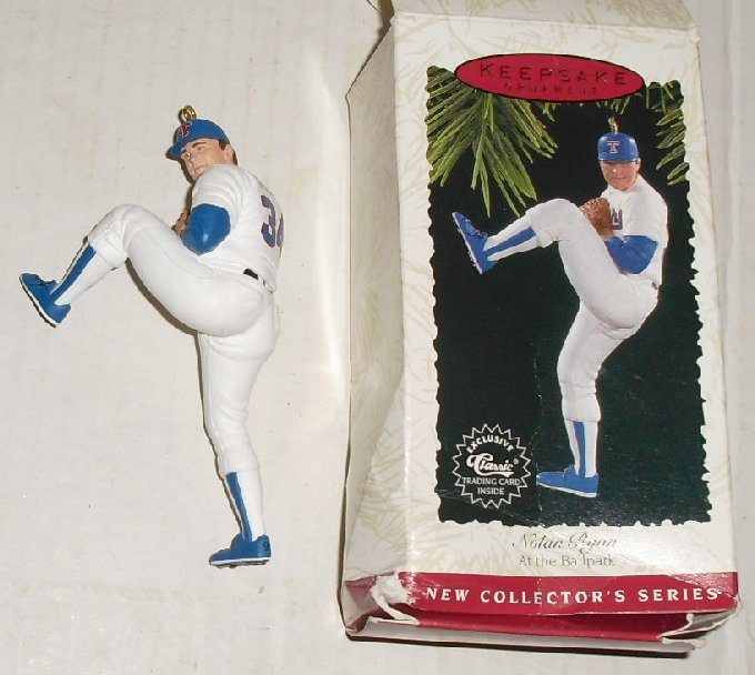 1996 Hallmark Ornament NOLAN RYAN baseball DAMAGED box