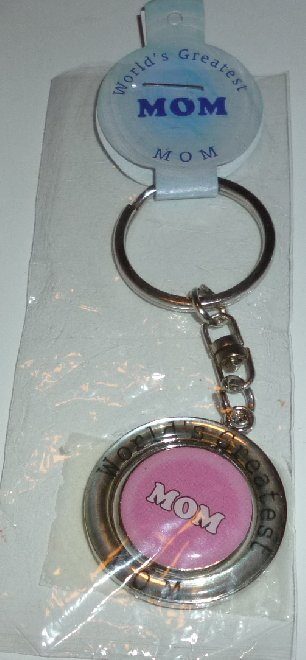 WORLD'S GREATEST MOM pink rotating center keyring key chain MIP