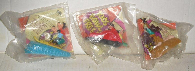 Lot of 3 GOOFY & MAX Burger King fast food Toys all MIP