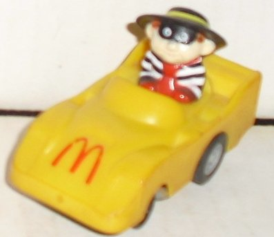McD McDonald's HAMBURGLAR in yellow car 2.5""