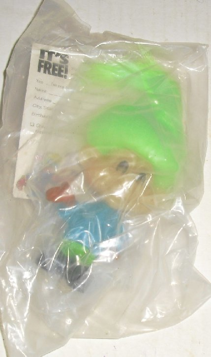 Glow inthe Dark TROLL doll fastfood toy Burger King MIP