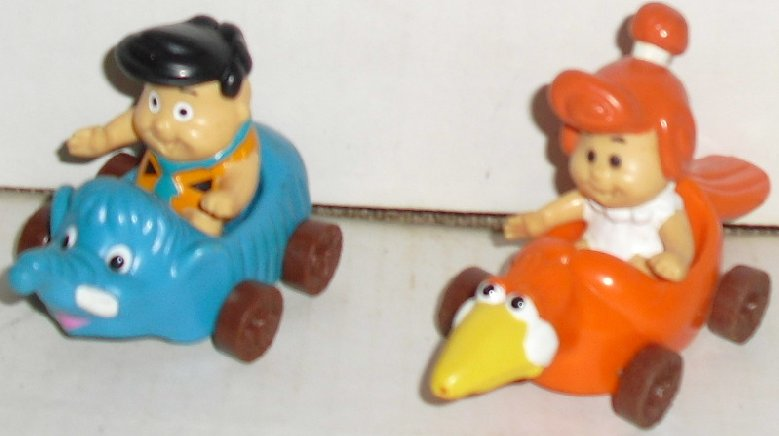 FLINTSTONES KIDS lot of 2 Fred & Wilma figures in cars, McDonald