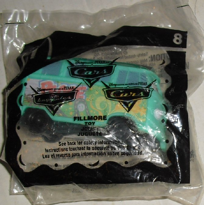 McDonalds McD CARS Movie FILLMORE Van #8 Happy Meal Toy, MIP