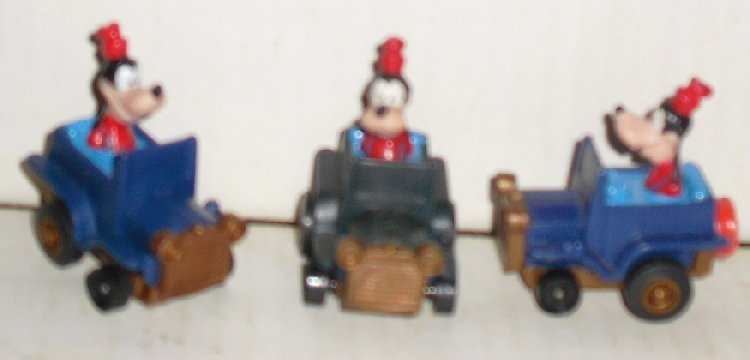 "Lot of 3 GOOFY in pullback roadster cars 2"", Disney"