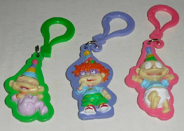 RUGRATS lot of 3 mini PVC flat Figure Clip-on toys 2""