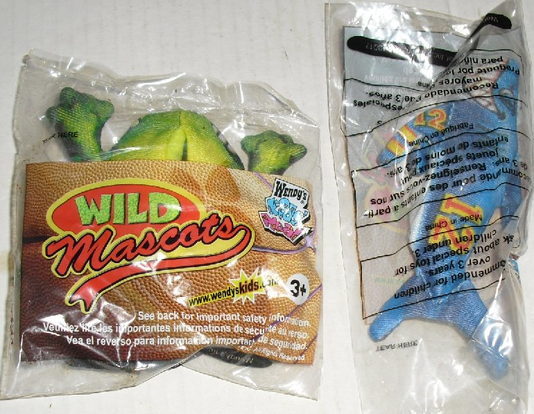 Lot of 2 Wendy's WILD MASCOTS frog & shark toys MIP