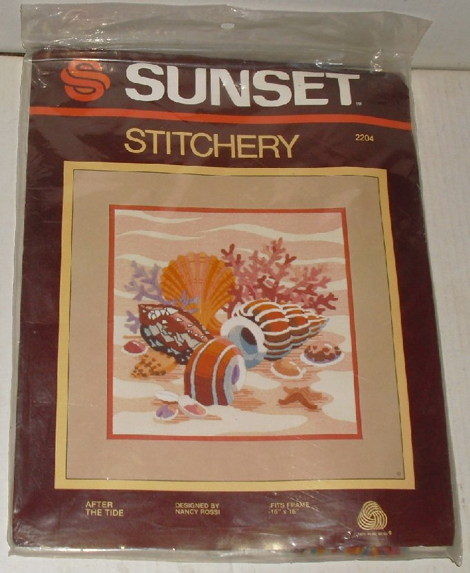 Sunset Stitchery #2204 AFTER THE TIDE seashells Kit MIP