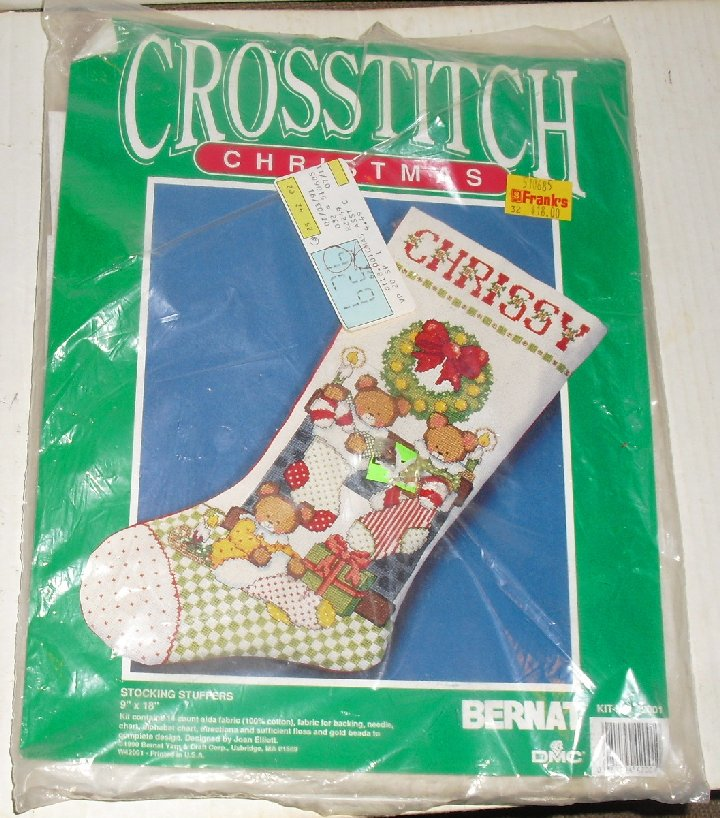 Bernat CROSS STITCH Christmas STOCKING STUFFER Kit
