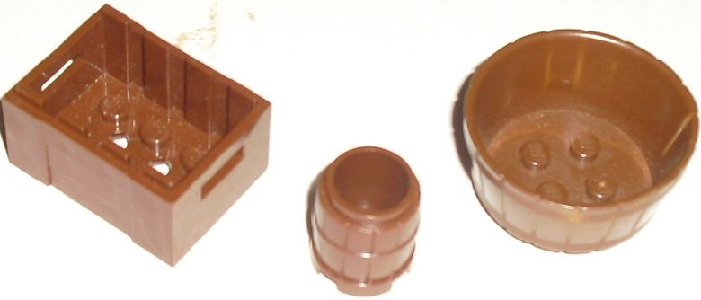 LEGO Parts lot of 3 brown Container Advent Chest barrel basket