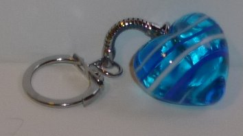 Blue with white swirl HEART keyring key chain 1""