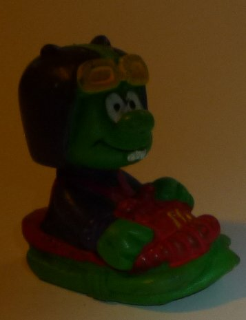 "ASTROSNIKS green alien PVC Figure in ship 2"", 1984 BULLY McD"