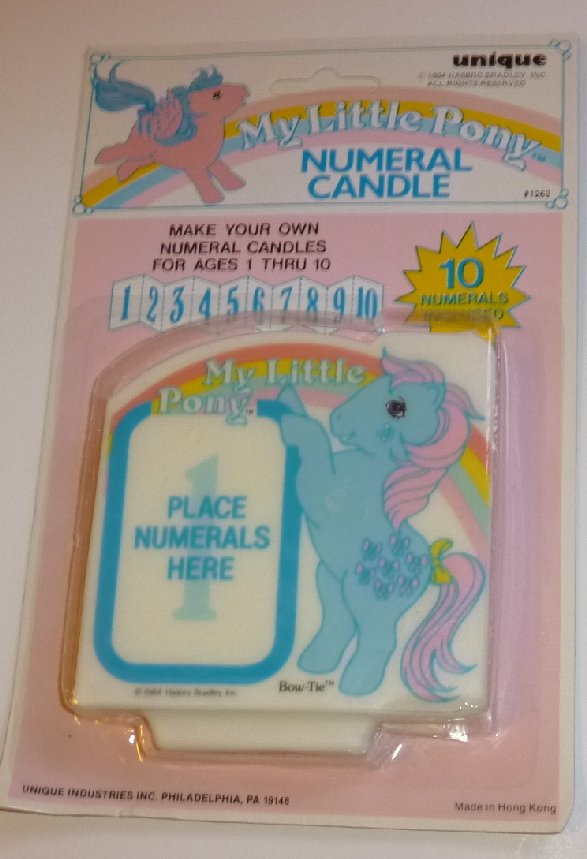 G1 1984 Vtg My Little Pony MLP BOW TIE Numeral Candle Unique MOC