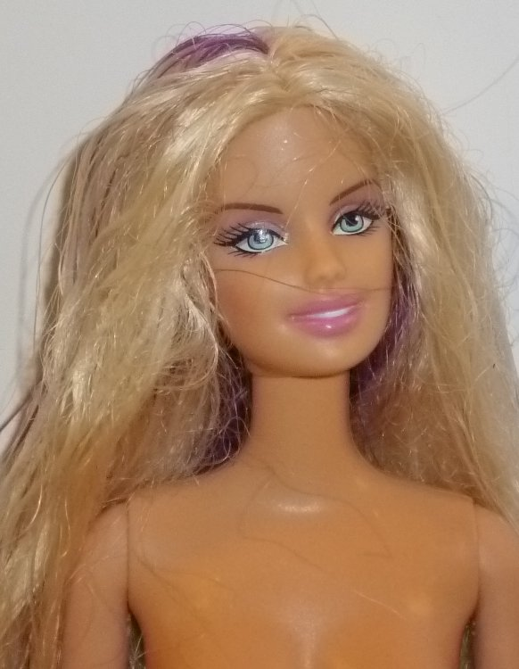 BARBIE Doll Nude 4 OOAK blonde hair purple streaks soft tummy