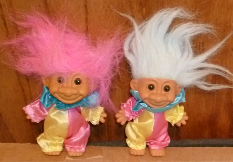 Russ Trolls TROLL Doll lot of 2 CLOWNS 5""