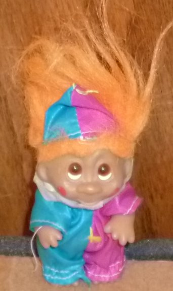 "1985 DAM TROLL Doll 3.5"" CLOWN, orange hair"