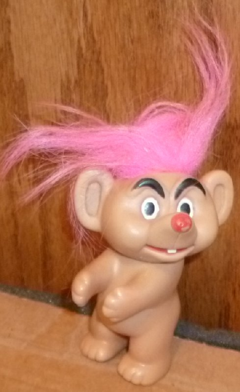 "Unusual MOUSE Troll Doll nude pink hair 3.5"", Taiwan"