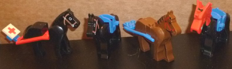 LEGO Parts Lot of 4 HORSES: 3 black and 1 brown