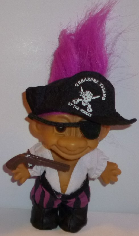 Russ Trolls TROLL Doll PIRATE w/ TREASURE ISLAND at Mirage hat