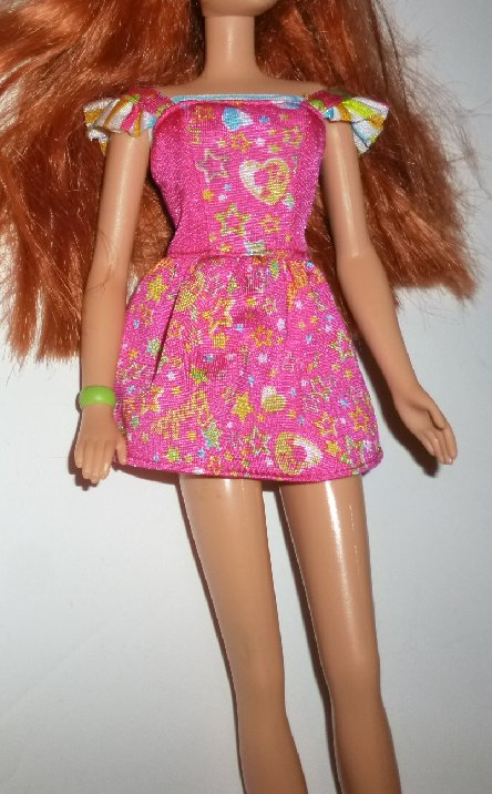 BARBIE Doll Clothing pink print DRESS, no tag
