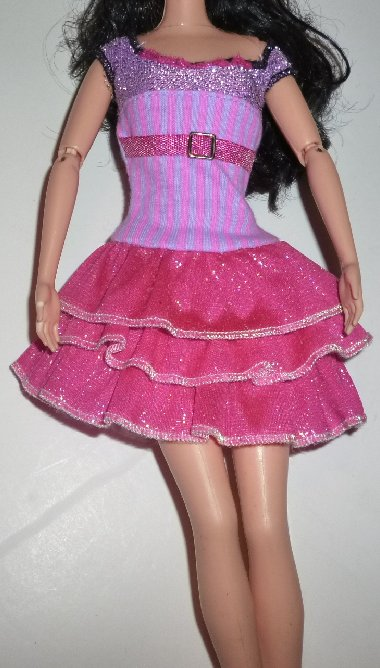 BARBIE Doll Clothing DRESS stripe top pink tiered skirt, no tag