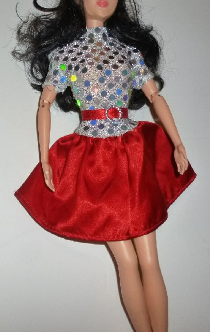 BARBIE Doll Clothing DRESS silver glitter top red skirt