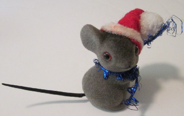 Vintage RUSS Fuzzy Friends Christmas MOUSE felt figure 2""