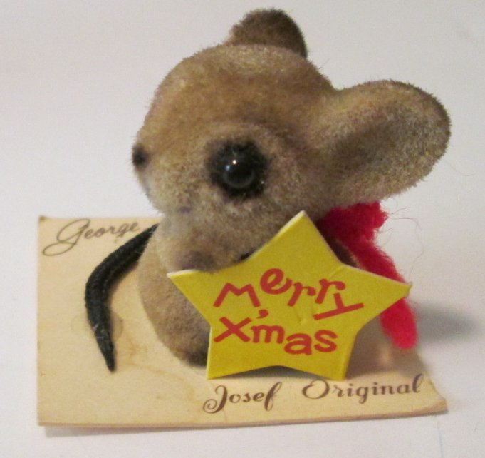 Vintage JOSEF Originals Merry Christmas mini MOUSE felt figure