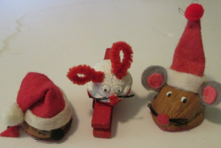 Vintage lot of 3 MICE Christmas clip-on ornaments