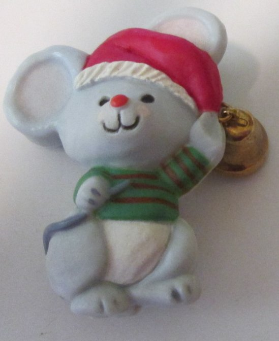 Hallmark Cards Christmas Mouse with red hat bell PIN 1.75""