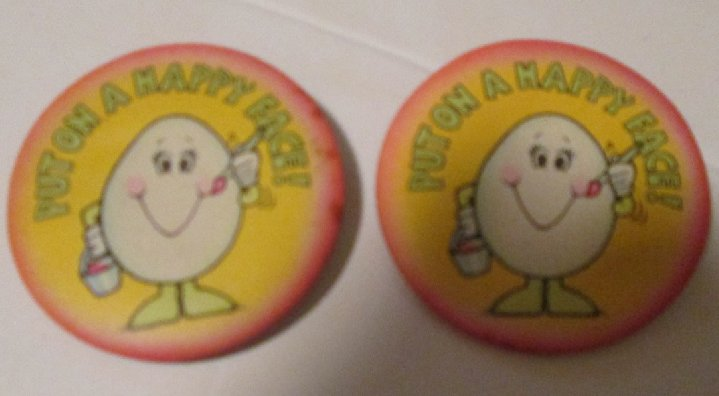 Vintage 1981 HALLMARK CARDS lot of 2 PUT HAPPY FACE button pin