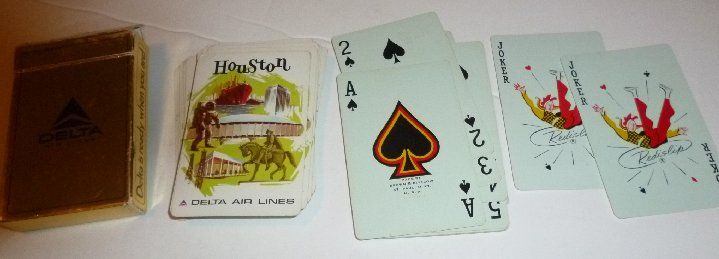 1 Deck vintage DELTA AirLines HOUSTON Texas playing cards