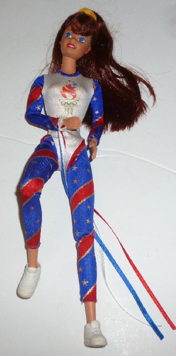 BARBIE Doll 1996 Atlanta Olympics Gymnast red hair dressed