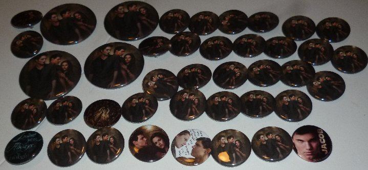 Big lot of 41 TWILIGHT Vampire Movie round button Pins 1.25-2""