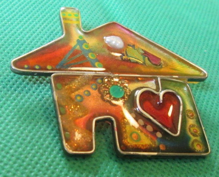 Decorated HOUSE brooch Pin 2.25""