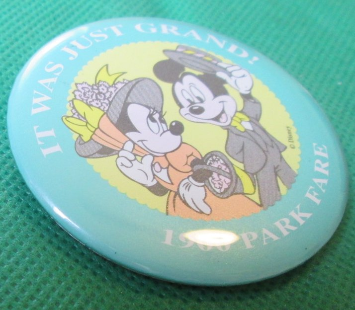 Disney 1900 PARK FARE Mickey & Minnie JUST GRAND button PIN