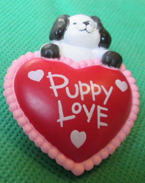 PUPPY LOVE dog on heart Pin 2.25""