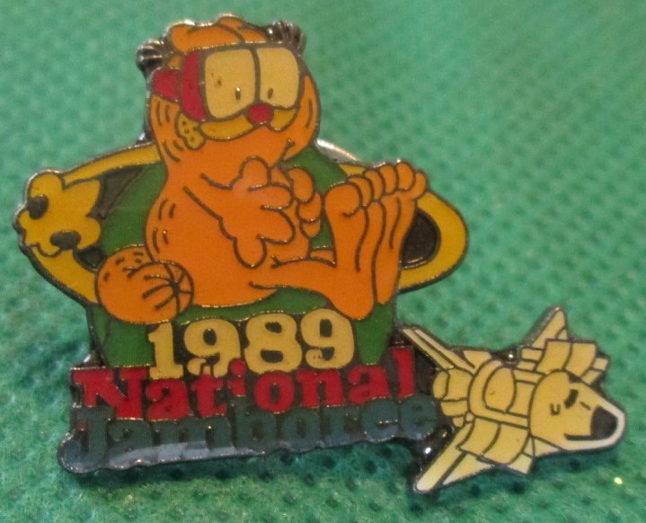 Boy Scouts GARFIELD 1989 NATIONAL JAMBOREE pinback lapel Pin ~1""