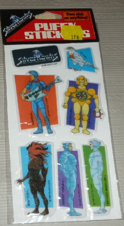 Vintage 1986 SILVERHAWKS puffy stickers, red label, MIP
