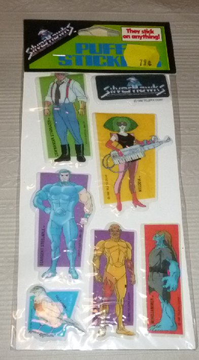 Vintage 1986 SILVERHAWKS puffy stickers, green label, MIP