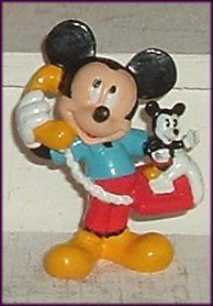 MICKEY MOUSE PVC Figure w/MM Phone 2.5 in, Disney