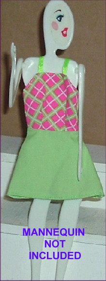 BARBIE Doll Fashion Clothes Green/Pink Sun Dress