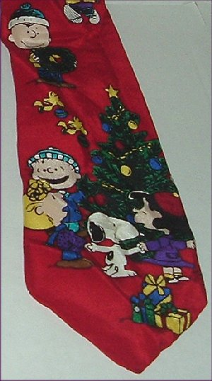 Peanuts SNOOPY Silk Neck TIE Have a Cool Yule