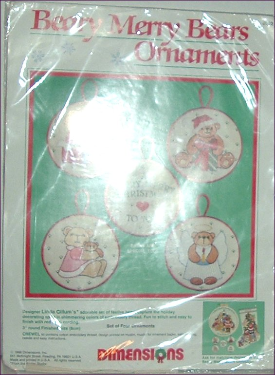 DIMENSIONS Xmas BEARY MERRY BEARS ORNAMENTS Kit MIP