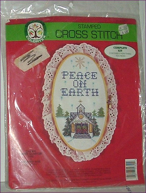 Colortex Stamped Cross Stitch PEACE ON EARTH Kit MIP