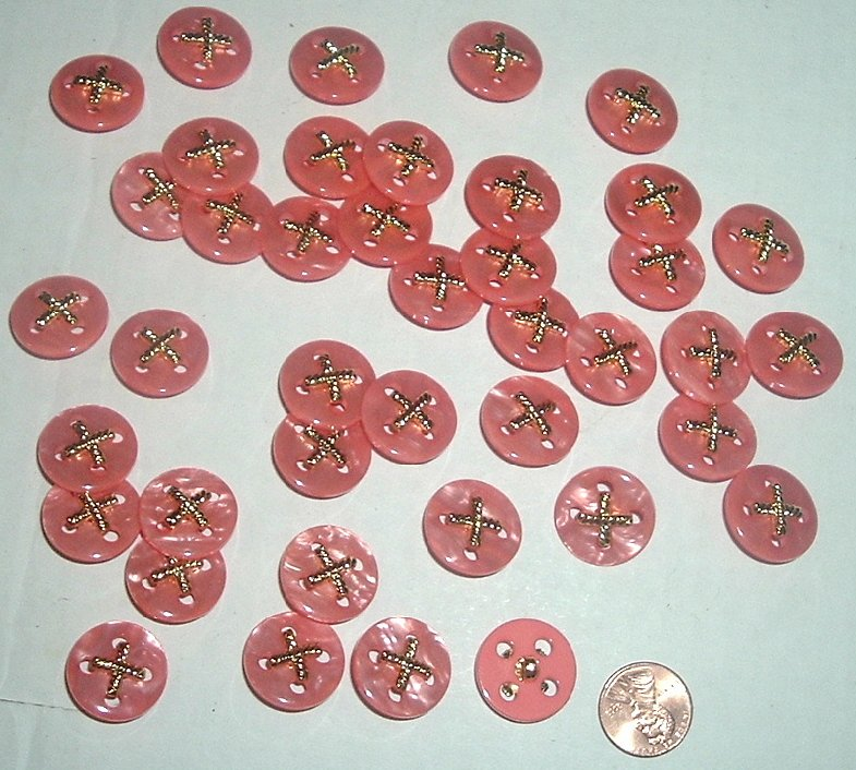 CRAFT Lot of 41 Coral w/ gold X BUTTONS 3/4""