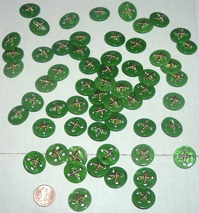 CRAFT Lot of 58 Green w/ gold X BUTTONS 3/4""