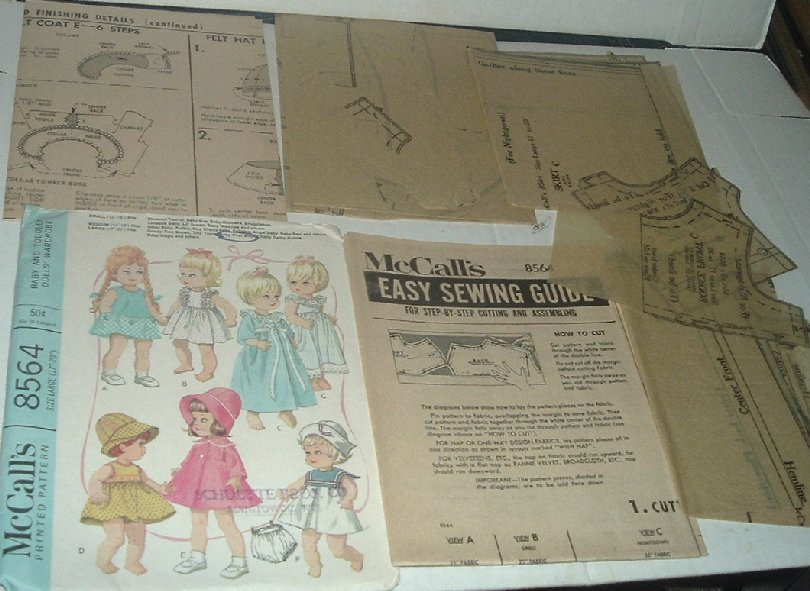 McCALL'S 8564 Vtg Baby Doll Clothes Craft Sew Pattern