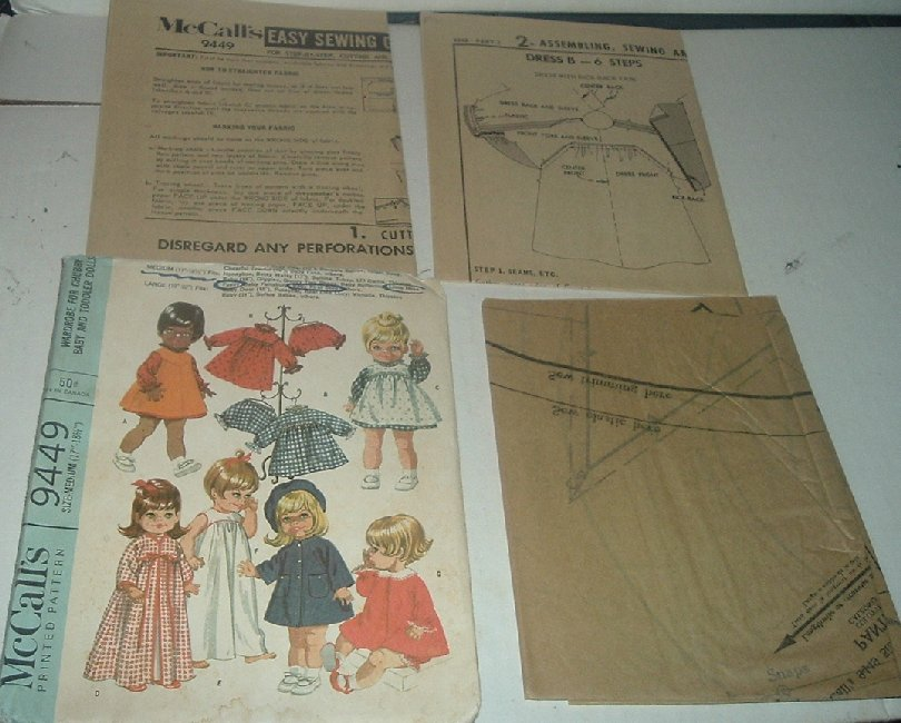 McCALL'S 9449 Vtg Baby Doll Clothes Craft Sew Pattern