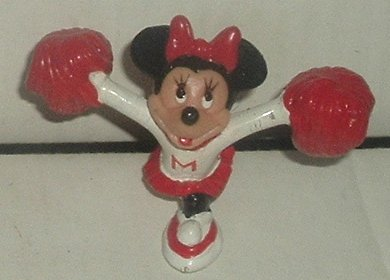 "MINNIE MOUSE PVC Figure CHEERLEADER w/pom poms 2"", Disney Prod"