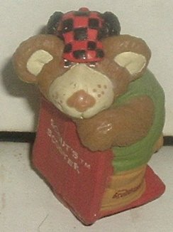 FURSKINS Bear PVC figure SCOUTS SCOOTER 2.5""